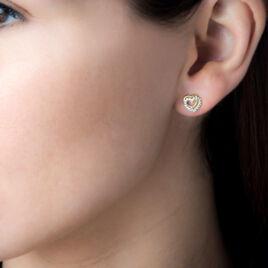 Boucles D'oreilles Puces Ablaye Or Jaune Oxyde De Zirconium - Boucles d'Oreilles Coeur Femme   Histoire d'Or
