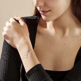 Bracelet Barrette Gravable Or Blanc - Gourmettes Femme   Histoire d'Or