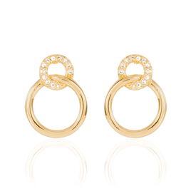Boucles D'oreilles Pendantes Essia Plaque Or Jaune Oxyde De Zirconium - Boucles d'oreilles fantaisie Femme   Histoire d'Or