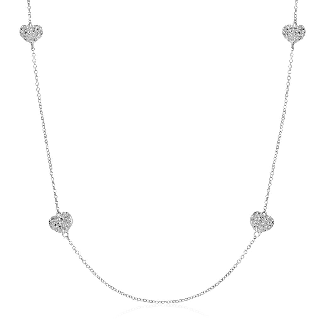 Collier Sautoir Yrina Argent Blanc - Colliers Coeur Femme | Histoire d'Or