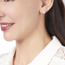 Boucles D'oreilles Puces Cherice Argent Blanc Oxyde De Zirconium - Boucles d'oreilles fantaisie Femme | Histoire d'Or