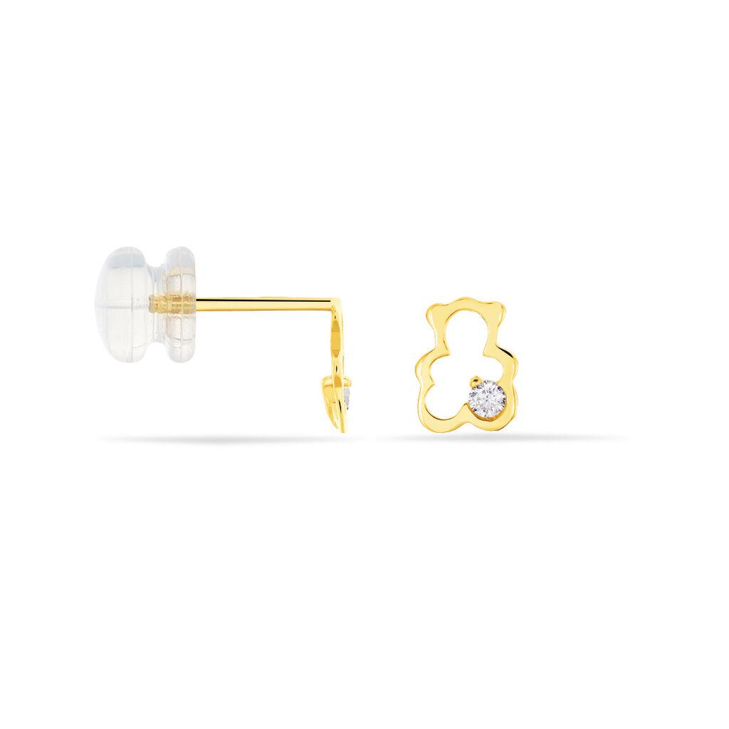 Boucles D'oreilles Puces Emerica Ours 0 Or Jaune Oxyde De Zirconium - Clous d'oreilles Unisexe | Histoire d'Or