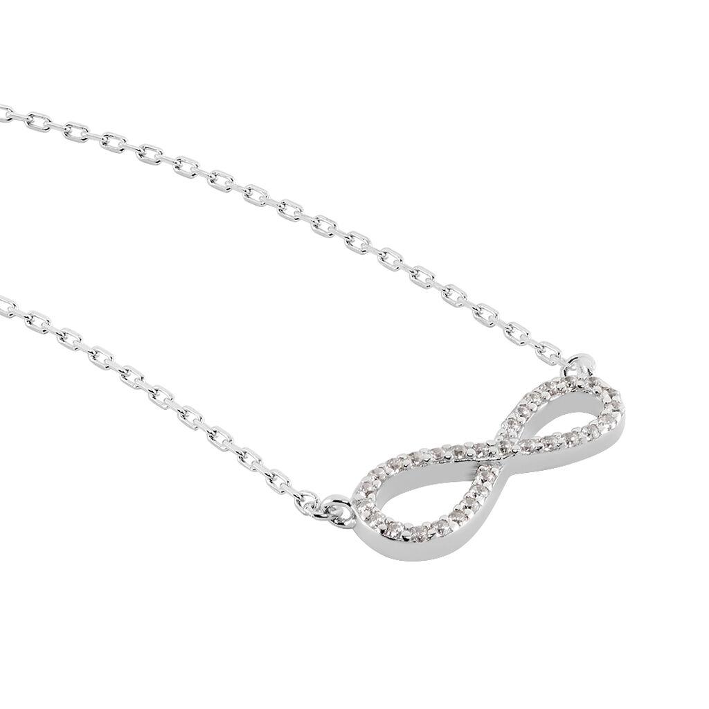 Collier Veda Argent Blanc Oxyde De Zirconium - Colliers Infini Femme   Histoire d'Or