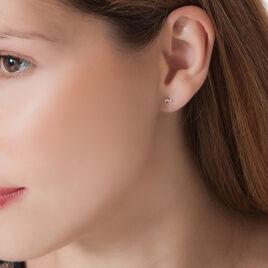 Boucles D'oreilles Puces Anne-maudae Coeurs Or Blanc - Boucles d'Oreilles Coeur Femme | Histoire d'Or