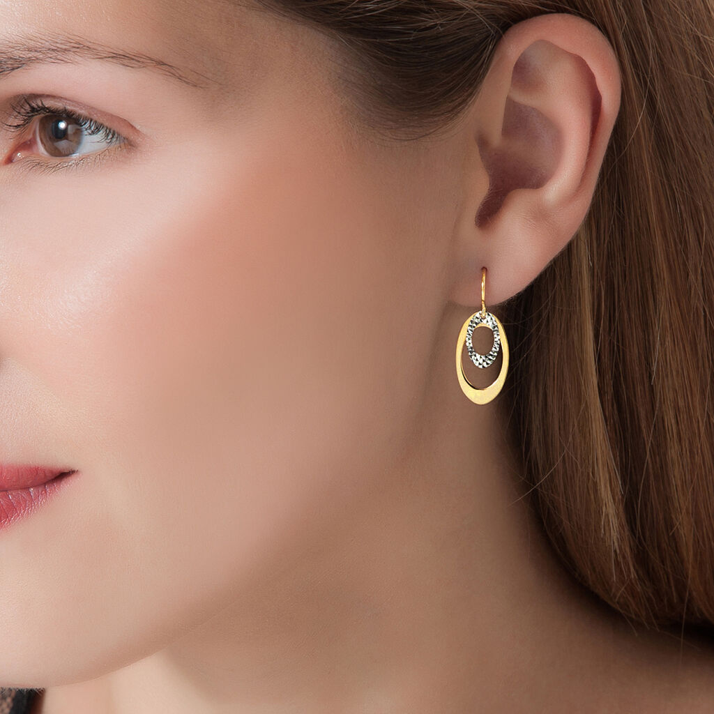 Boucles D'oreilles Pendantes Adine Or Bicolore - Boucles d'oreilles pendantes Femme | Histoire d'Or