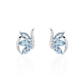Boucles D'oreilles Puces Petale Or Blanc Topaze Et Oxyde De Zirconium - Clous d'oreilles Femme   Histoire d'Or