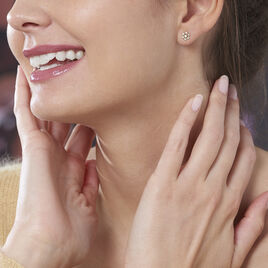 Boucles D'oreilles Puces Eileen Flocon Or Jaune Oxyde De Zirconium - Clous d'oreilles Femme   Histoire d'Or