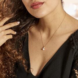 Collier Or Jaune Bragi Perle De Culture Oxyde De Zirconium - Bijoux Femme   Histoire d'Or
