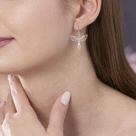 Boucles D'oreilles Pendantes Origami Argent Blanc - Boucles d'oreilles fantaisie Femme | Histoire d'Or