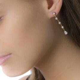 Boucles D'oreilles Pendantes Leany Plaque Or Jaune Oxyde De Zirconium - Boucles d'oreilles fantaisie Femme | Histoire d'Or