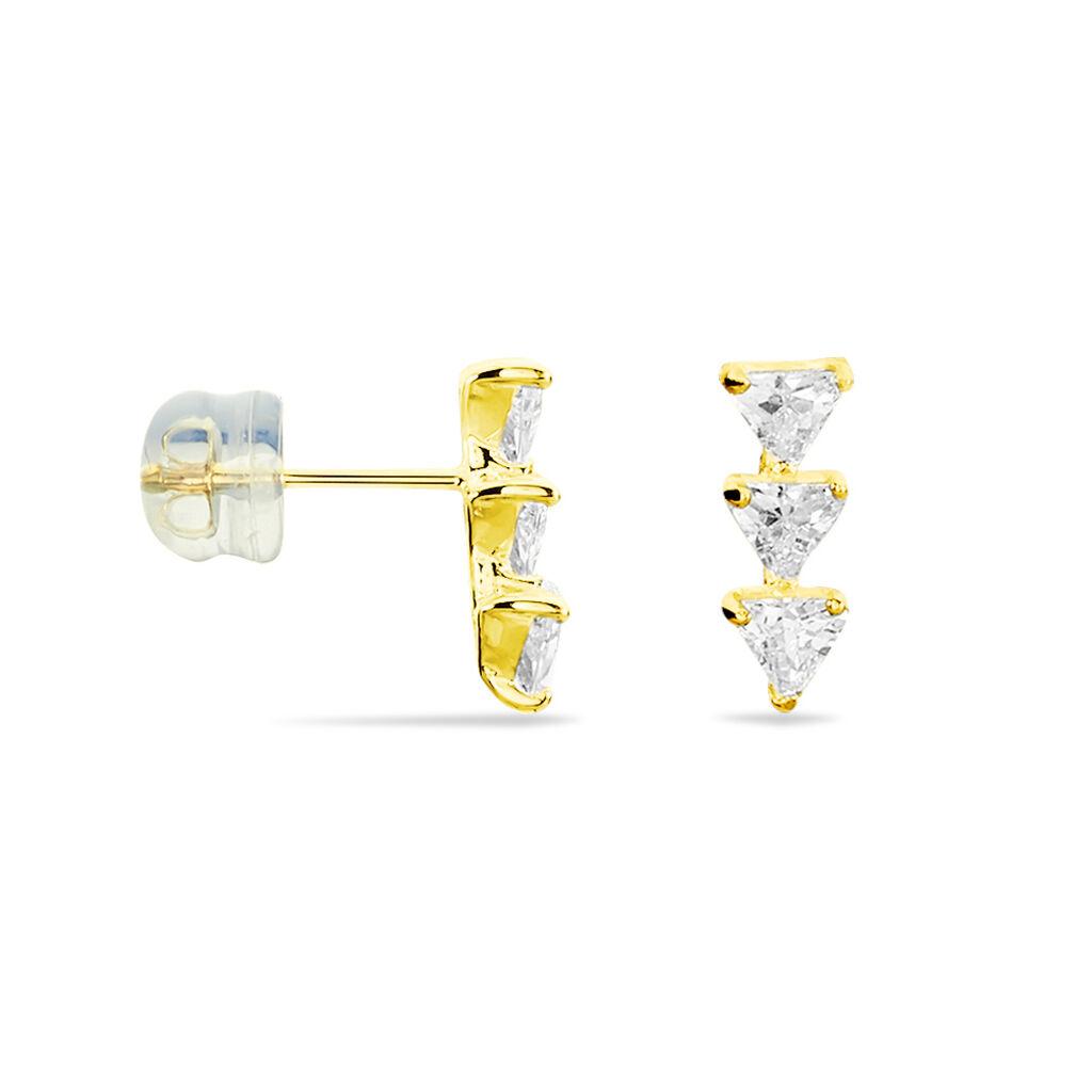 Boucles D'oreilles Pendantes Kani Or Jaune Oxyde De Zirconium - Boucles d'oreilles pendantes Femme | Histoire d'Or