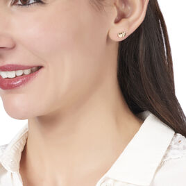 Boucles D'oreilles Puces Gracia Plaque Or Jaune - Boucles d'Oreilles Coeur Femme | Histoire d'Or