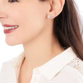 Boucles D'oreilles Puces Valensia Argent Blanc Oxyde De Zirconium - Boucles d'Oreilles Coeur Femme   Histoire d'Or