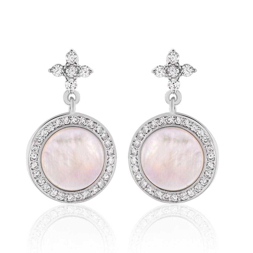 Boucles D'oreilles Pendantes Hacena Argent Blanc Oxyde De Zirconium - Boucles d'Oreilles Trèfle Femme   Histoire d'Or