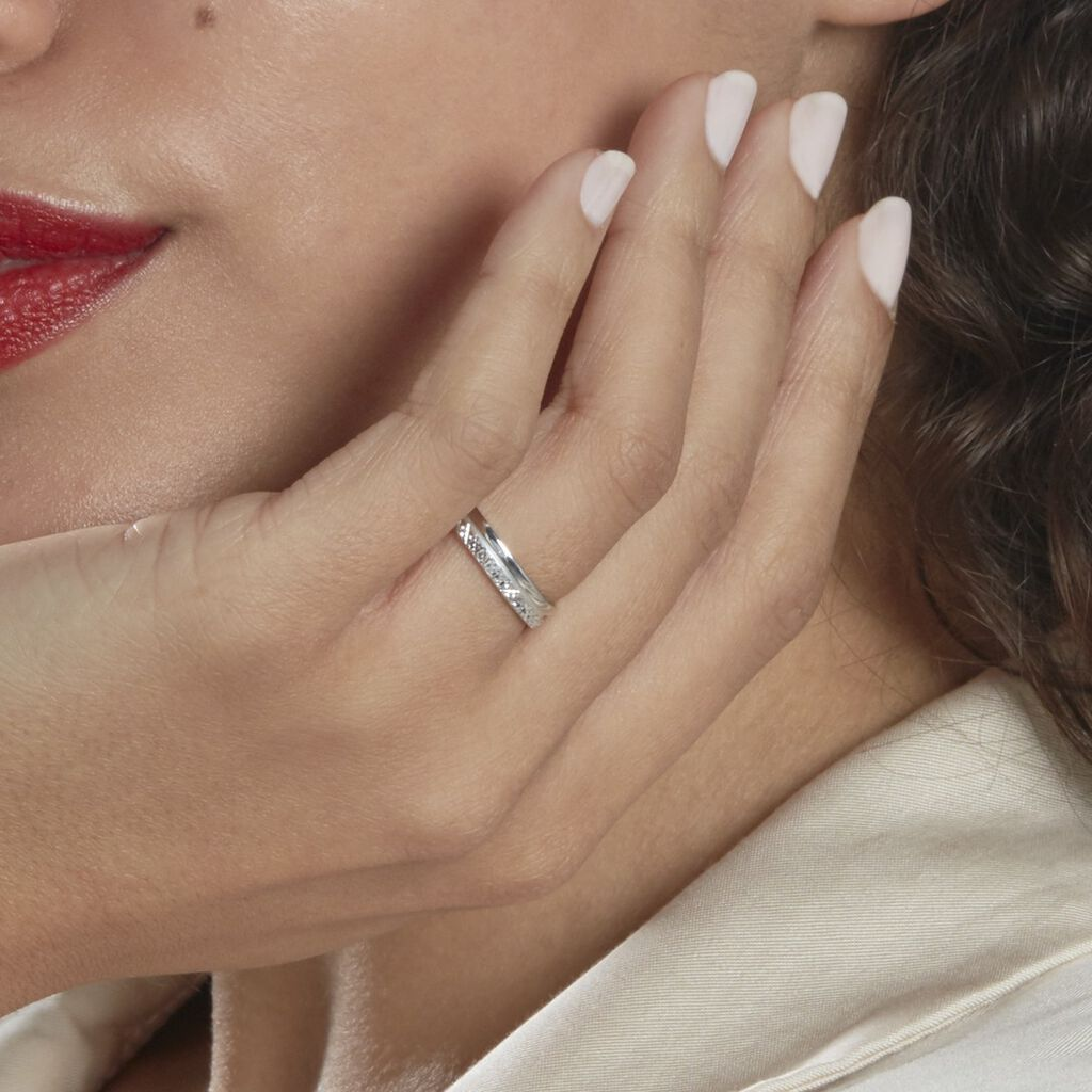 Alliance Sylvaincine Ruban Plat Or Blanc - Alliances Femme | Histoire d'Or