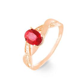 Bague Or Rose Candice Rubis - Bagues avec pierre Femme   Histoire d'Or