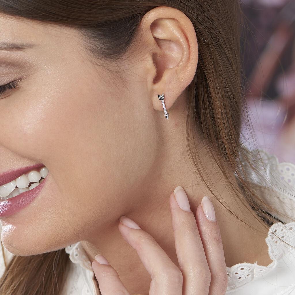 Boucles D'oreilles Puces Harrow Argent Blanc Oxyde De Zirconium - Boucles d'oreilles fantaisie Femme | Histoire d'Or