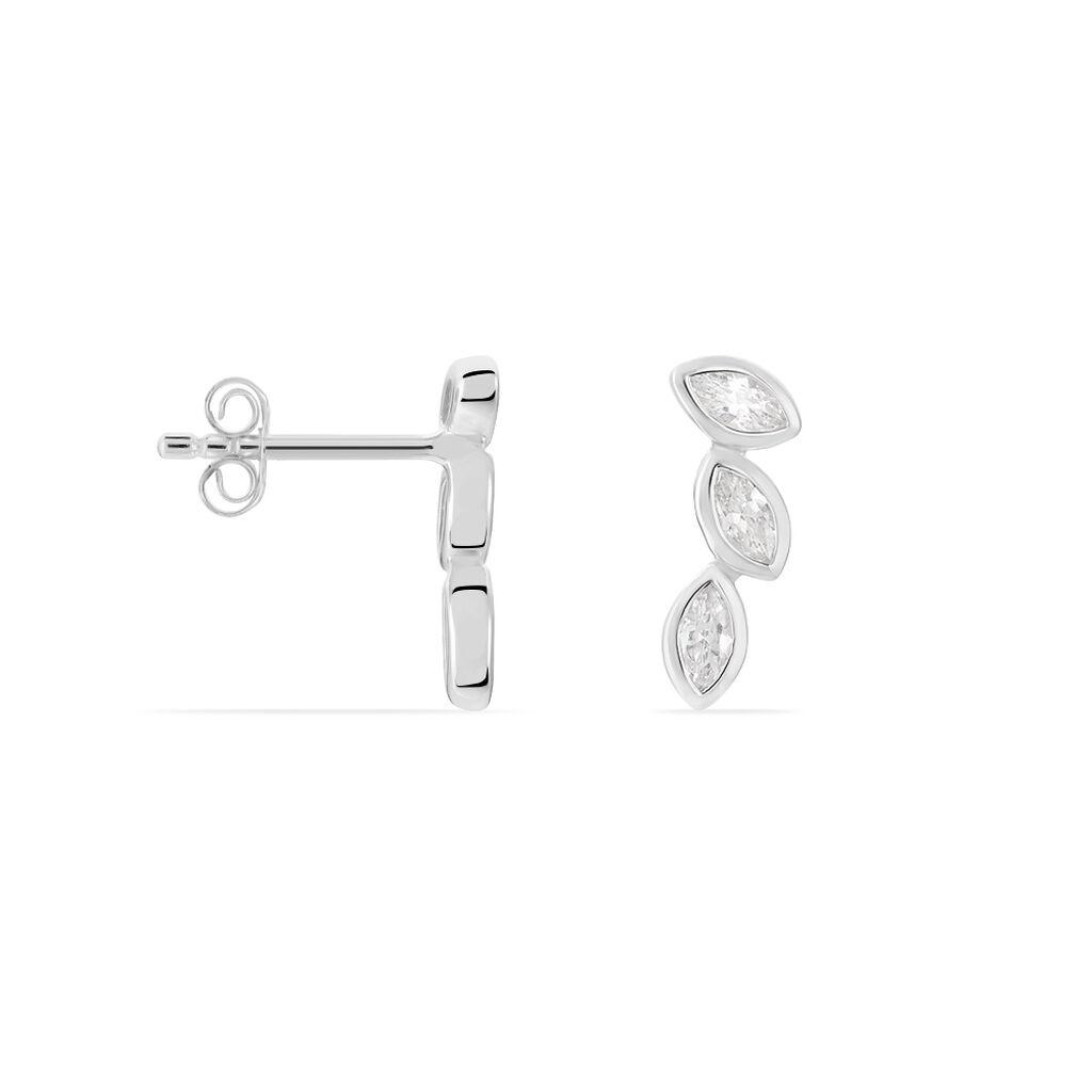 Bijoux D'oreilles Elohane Argent Blanc Oxyde De Zirconium - Boucles d'Oreilles Plume Femme | Histoire d'Or