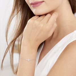 Bracelet Carlie Argent Blanc Oxyde De Zirconium - Bracelets Croix Femme | Histoire d'Or