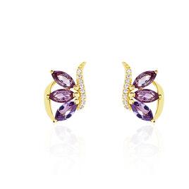 Boucles D'oreilles Or Jaune Amethyste Fleur Oxyde - Boucles d'oreilles pendantes Femme | Histoire d'Or