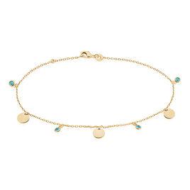 Chaîne De Cheville Caterie Plaque Or Jaune Turquoise - Chaînes de cheville Femme | Histoire d'Or