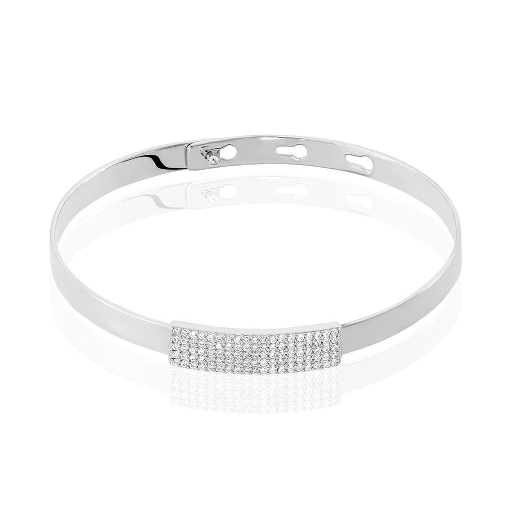 Bracelet Jonc Tifania Argent Blanc Oxyde De Zirconium - Bracelets joncs Femme | Histoire d'Or