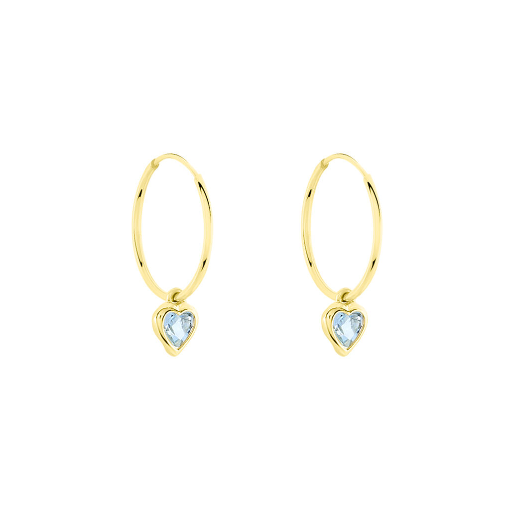 Créoles Marsie Coeur Or Jaune Topaze - Boucles d'Oreilles Coeur Femme | Histoire d'Or