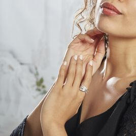 Bague Audon Argent Rhodié Blanc Oxydes De Zirconium - Bagues avec pierre Femme | Histoire d'Or