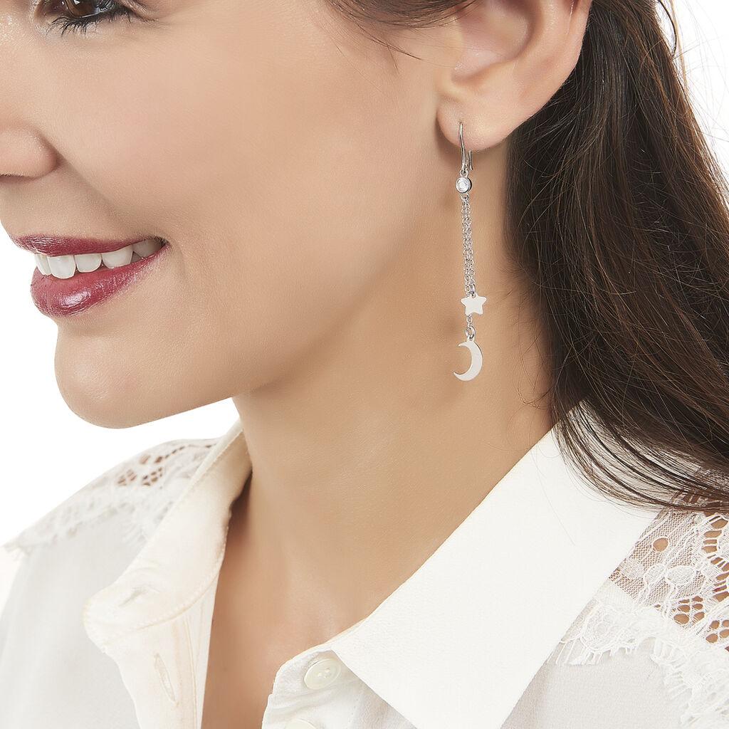 Boucles D'oreilles Pendantes Astre Argent Blanc Oxyde De Zirconium - Boucles d'Oreilles Etoile Femme   Histoire d'Or