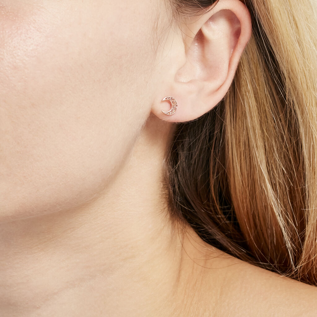 Boucles D'oreilles Pendantes Celma Or Rose - Boucles d'Oreilles Lune Femme | Histoire d'Or