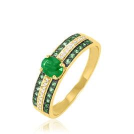 Bague Margot Or Jaune Emeraude Diamant - Bagues avec pierre Femme   Histoire d'Or