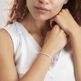 Bracelet Jonc Or Blanc Posie Diamants - Bracelets joncs Femme | Histoire d'Or