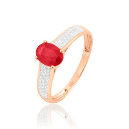 Bague Or Rose  Crista Rubis Oval - Bagues avec pierre Femme   Histoire d'Or