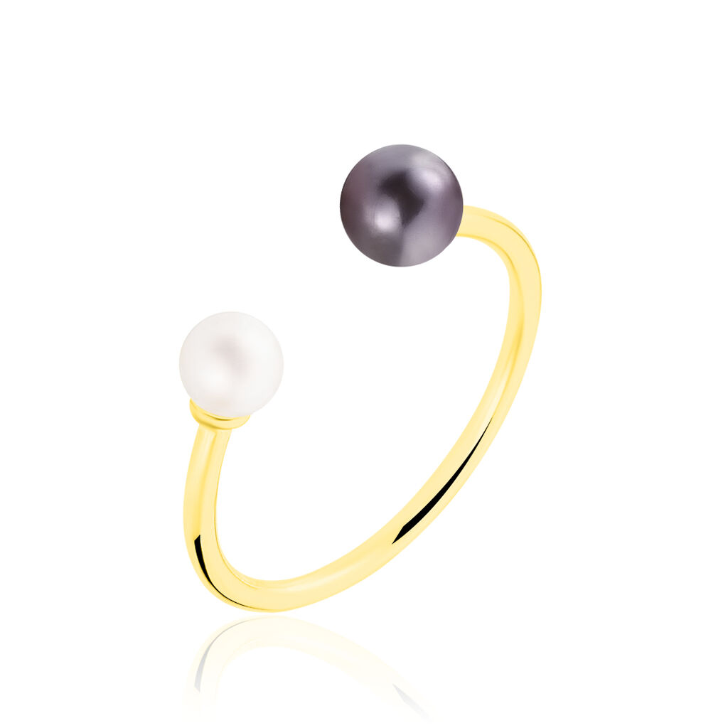 Bague Or Jaune Perle D'imitation Et Chrysoprase - Bagues avec pierre Femme   Histoire d'Or