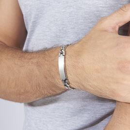 Bracelet Ludo Maille Gourmette Acier Blanc - Bracelets fantaisie Homme | Histoire d'Or