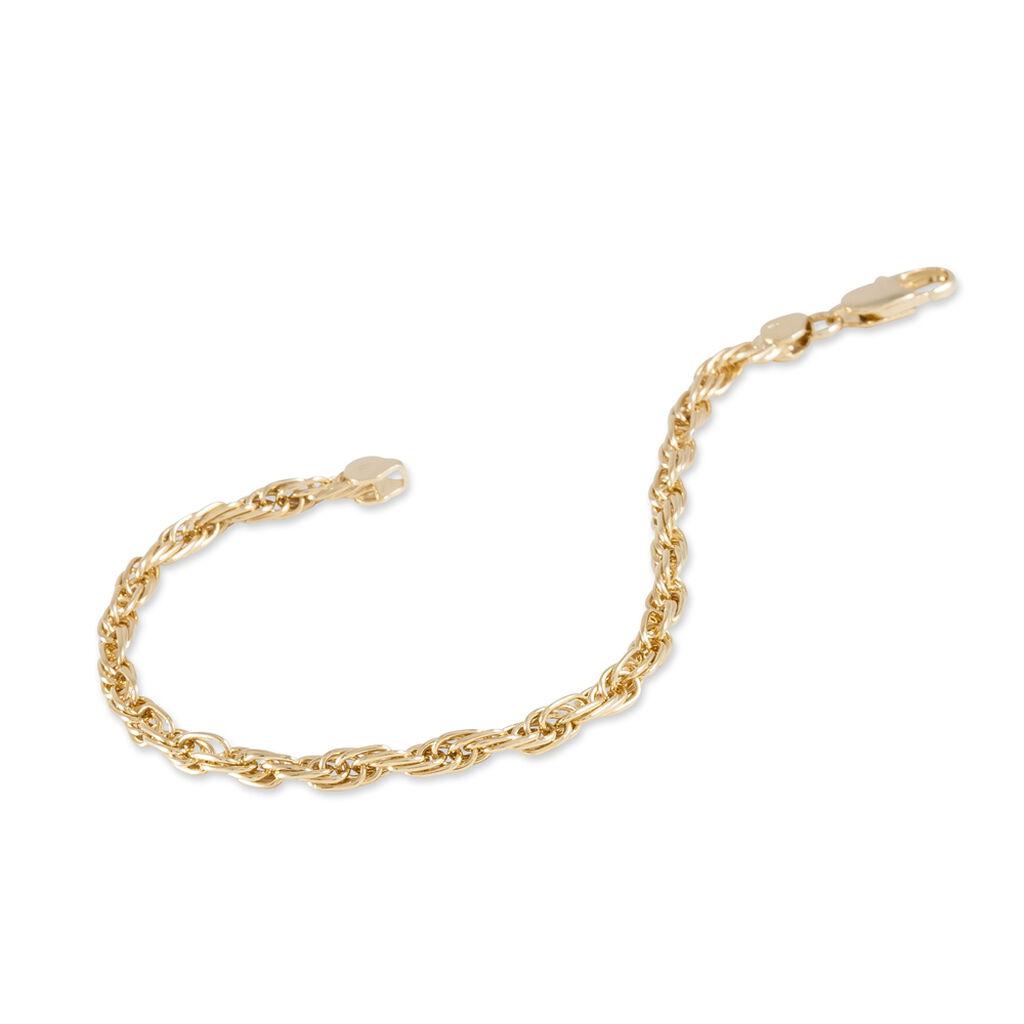 Bracelet Azelys Maille Corde Plaque Or Jaune - Bracelets chaîne Femme | Histoire d'Or