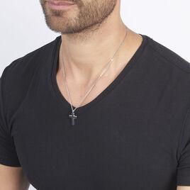 Collier Moletee Acier Blanc - Colliers Croix Homme | Histoire d'Or