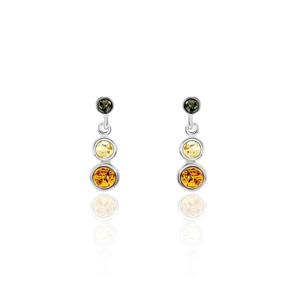 Boucles D'oreilles Pendantes Rosalie Argent Blanc Ambre - Boucles d'oreilles fantaisie Femme   Histoire d'Or