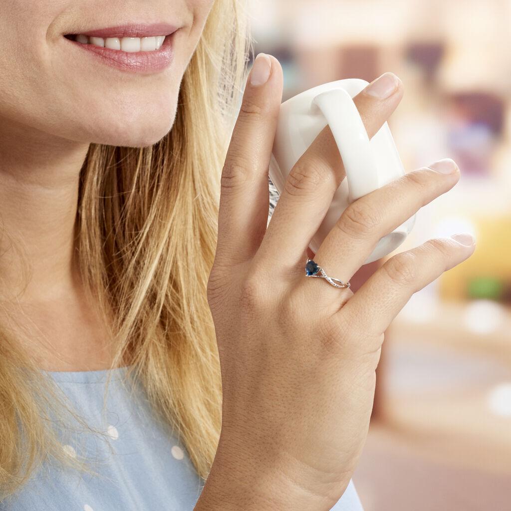Bague Clothilde Or Blanc Topaze Et Oxyde De Zirconium - Bagues Coeur Femme   Histoire d'Or