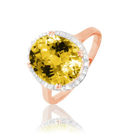 Bague Anna Or Rose Citrine Et Diamant - Bagues solitaires Femme | Histoire d'Or