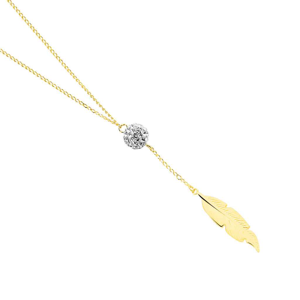 Collier Powoo Or Jaune Strass - Colliers Plume Femme   Histoire d'Or