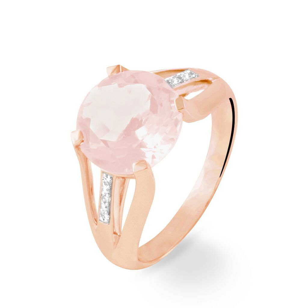 Bague Cecile Or Rose Quartz Et Diamant