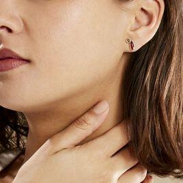 Boucles D'oreilles Puces Sylvaincine Argent Blanc Ambre - Boucles d'oreilles fantaisie Femme   Histoire d'Or