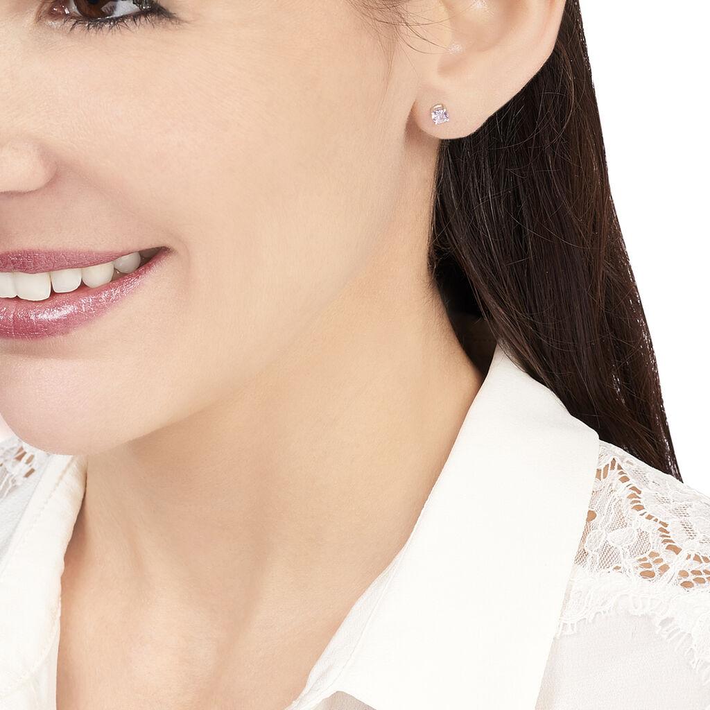 Boucles D'oreilles Puces Edy Serti Clos Or Blanc Amethyste - Clous d'oreilles Femme | Histoire d'Or