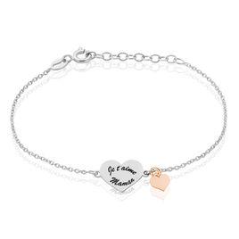 Bracelet Argent Bicolore Nathalie Maille Forcat Cœur - Bracelets Coeur Femme | Histoire d'Or
