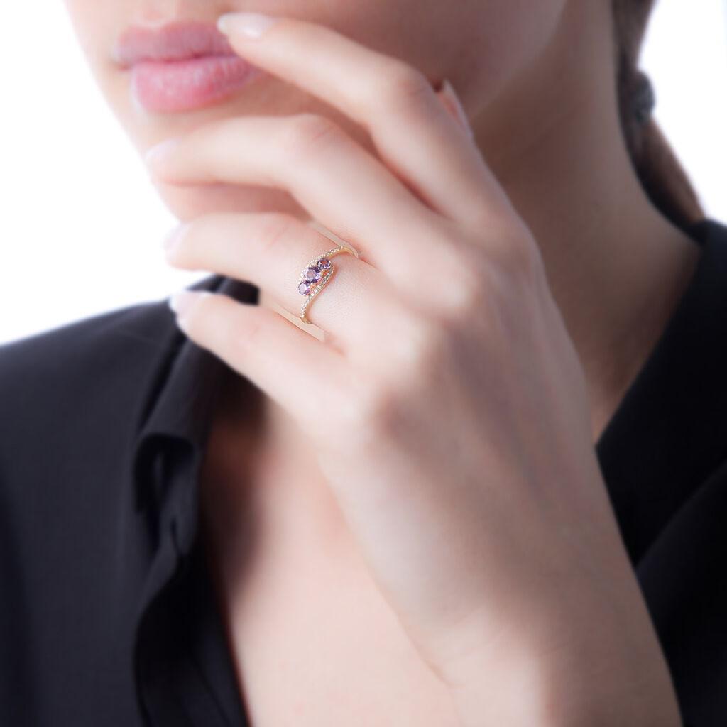 Bague Chloe Or Jaune Amethyste Et Oxyde De Zirconium - Bagues solitaires Femme | Histoire d'Or