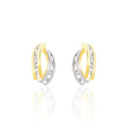 Boucles D'oreilles Puces Gersande Or Bicolore Oxyde De Zirconium - Clous d'oreilles Femme | Histoire d'Or