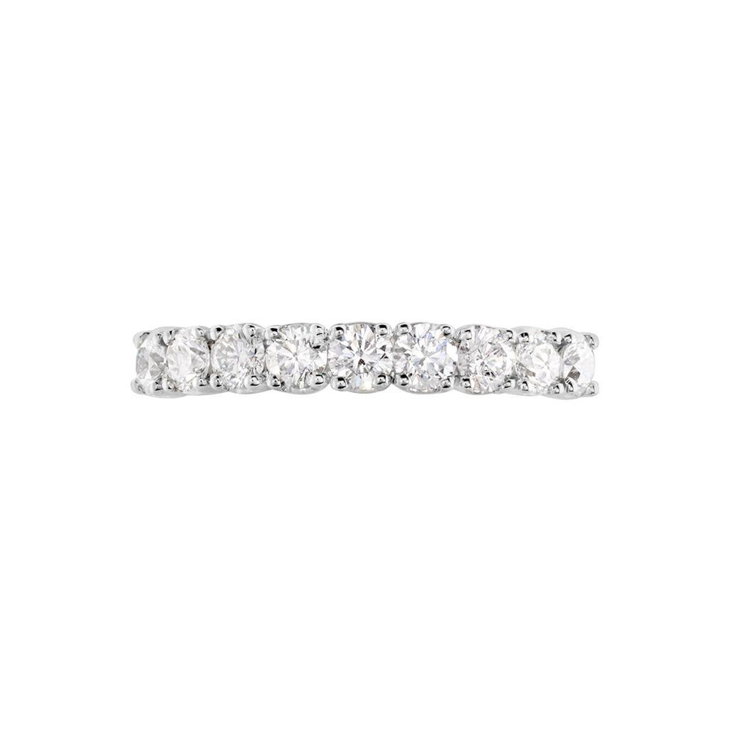 Demi Alliance Eloise Platine Blanc Diamant - Alliances Femme   Histoire d'Or