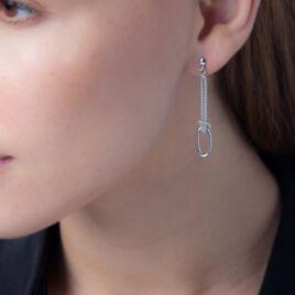 Boucles D'oreilles Pendantes Elena Argent Blanc - Boucles d'oreilles fantaisie Femme | Histoire d'Or