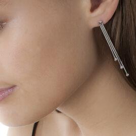 Boucles D'oreilles Pendantes Giorgia Argent Blanc - Boucles d'oreilles fantaisie Femme | Histoire d'Or